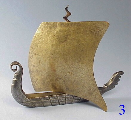 Unusual Bronze Viking Ship Corkscrew