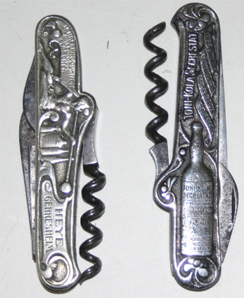 2 knives with German silver scales and advertising
