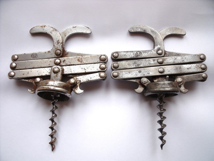 "2 FRENCH ANTIQUE  CORKSCREW ""PP"""