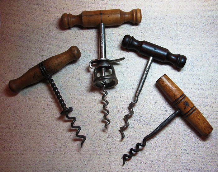 LOT OF FOUR:  WILLIAMSON WOOD-HANDLE CORKSCREWS