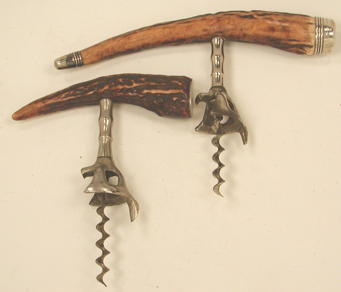 Two Corkscrews with Horn Handles & Sterling End Caps