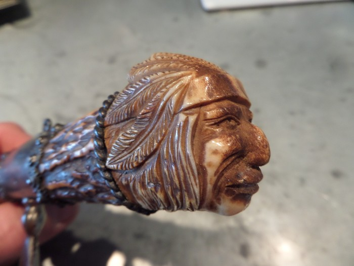 Fantastic Carved Corkscrew - Native American Chief Head!