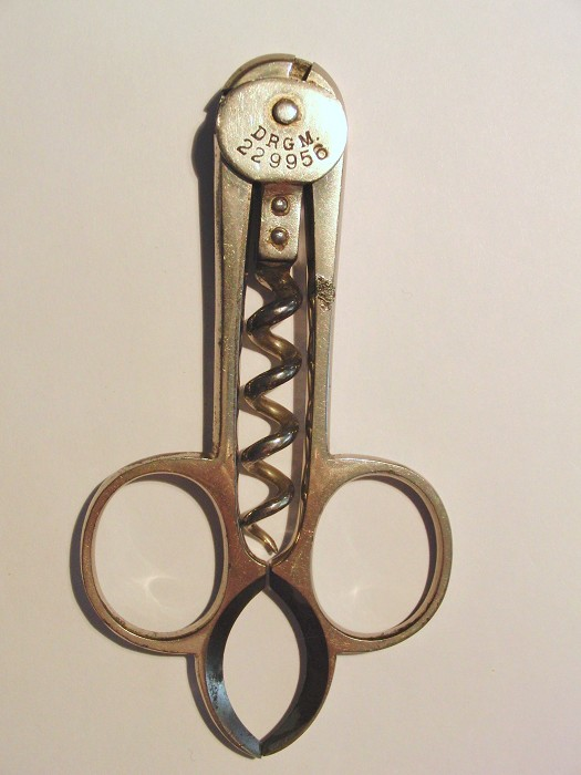 "D.R.G.M. ""Scissors"" Corkscrew with Foil Cutter"