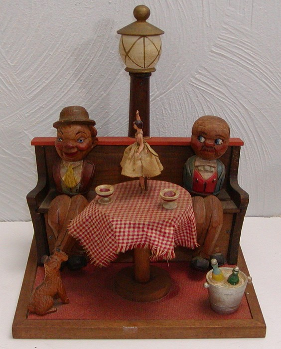 Anri Figural Bar Set- Men at Table with Music Box Ballerina