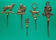 5 English Brass Figural Corkscrews. Dogs