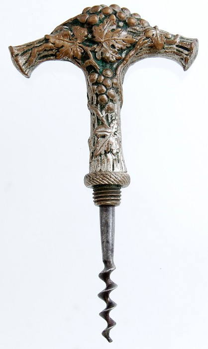 Unusual French Grape Theme Corkscrew - stored worm in handle