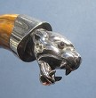Ferocious Panther's Head in Silver on Boar's Tusk