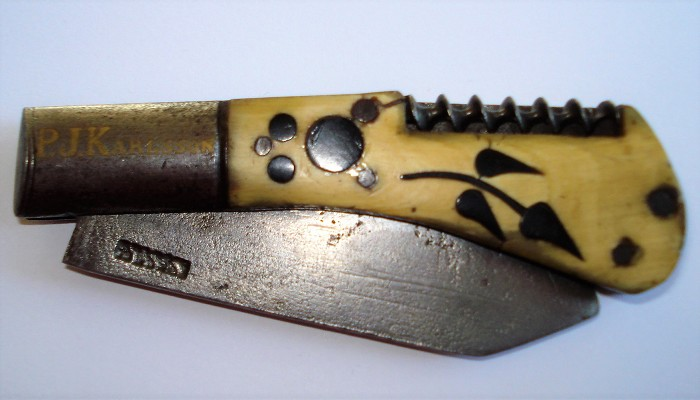 X-RARE PROBABLY GERMAN KNIFE, BONE SCALES W INLAYS, CA 1860.