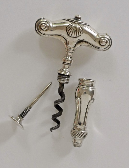 silver corkscrew 18th century marked SP or SB