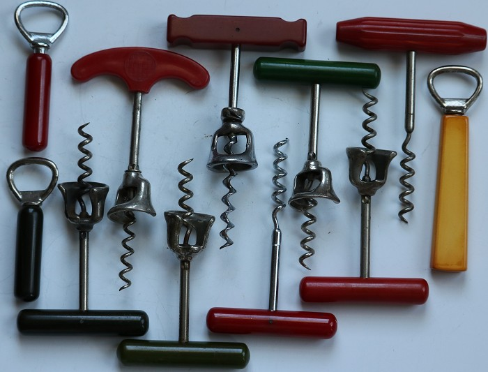 Collection of Eleven Corkscrews - Colored Bakelite Handles