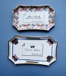 3 Burgundy-Wine  Related  Porcelain Calling-Card trays