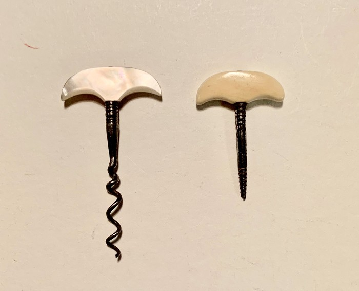 Two Miniatures: MOP handle T screw and Bone Handled Foret