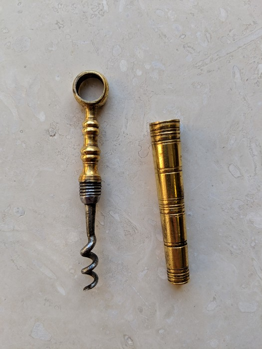 Fine English Gold Gilt Pocket Perfume Corkscrew